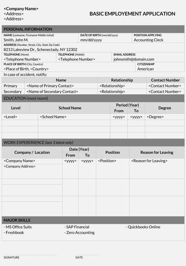 Basic-Employment-Application