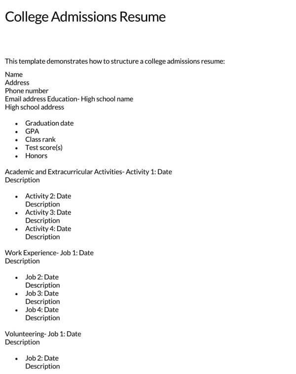 College-Admissions-Resume-Sample