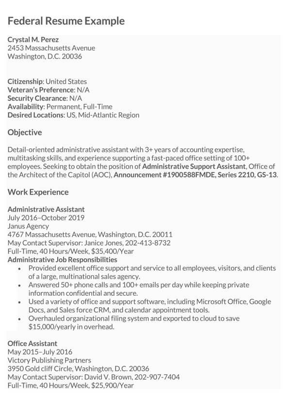 Federal-Resume-Sample