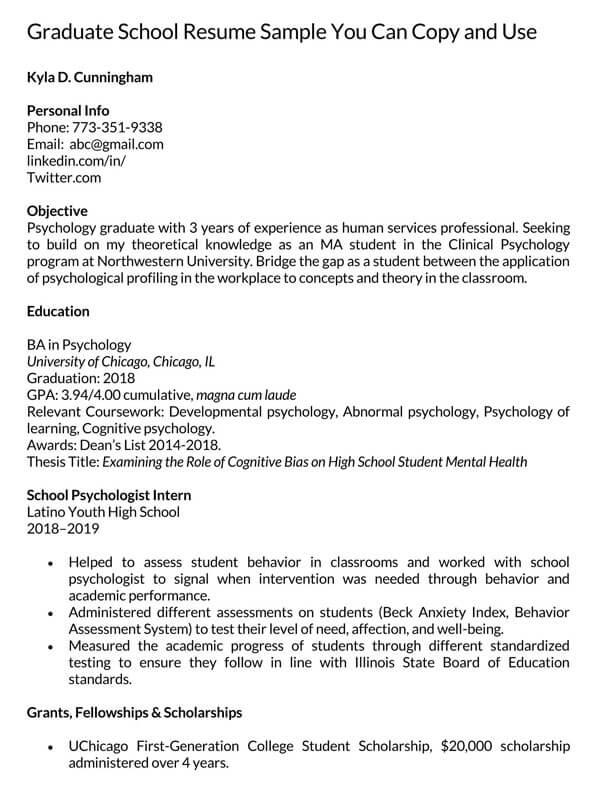 Graduate-School-Resume-Sample
