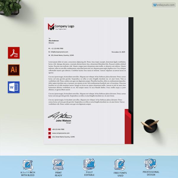 Printable Company Letterhead Sample