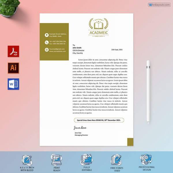 College Letterhead Sample