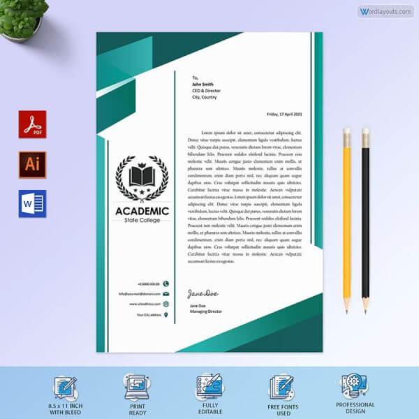 Education Institute Letterhead Design