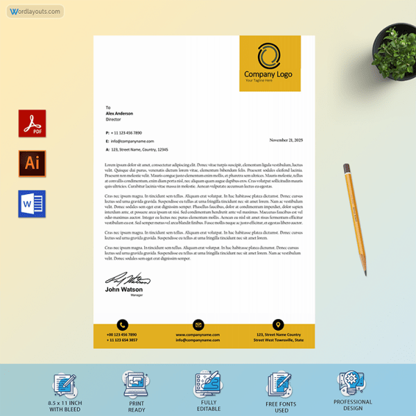 Editable Business Letterhead Template