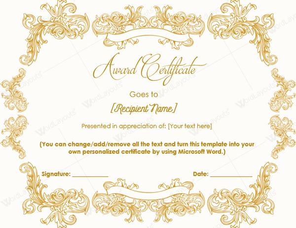 Award Template Word – Microsoft Word Award Template