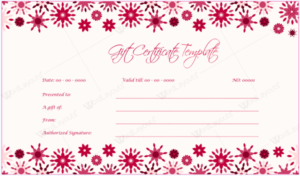 Document Templates – Gift Certificate Template Pages