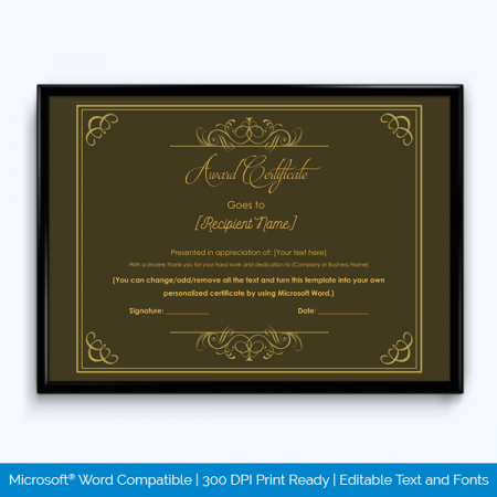 Award certificate templates 500 printable awards award certificate 13 yadclub Images
