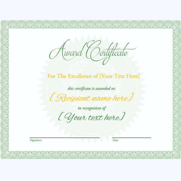 Editable Award Certificate