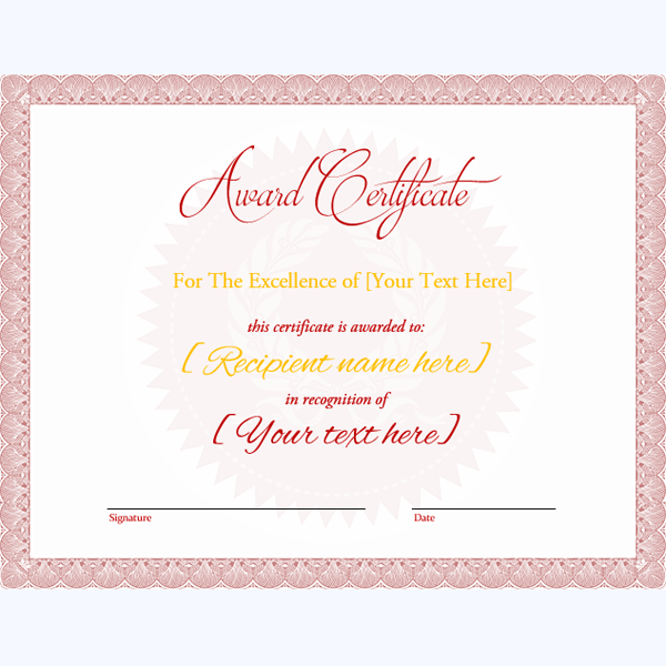 Formal Award Certificate