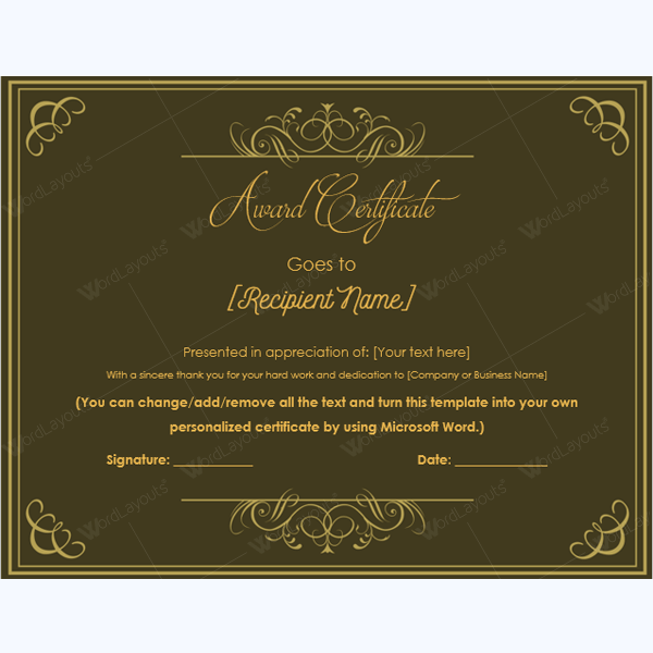 blank certificate of appreciation form