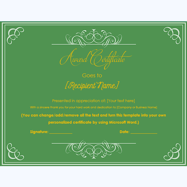 funny award certificate template