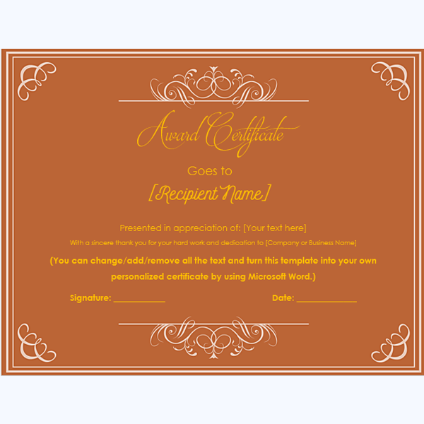 award certificate template word 2007