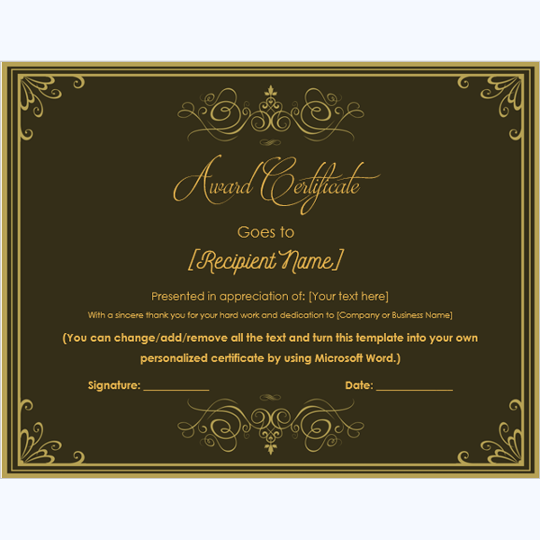 microsoft certificate borders