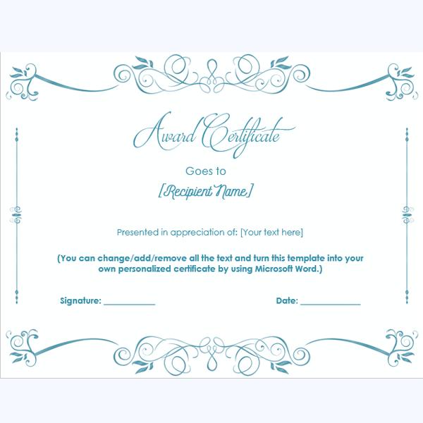academic award certificate