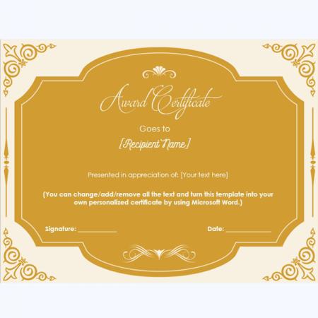 honor appreciation certificate template