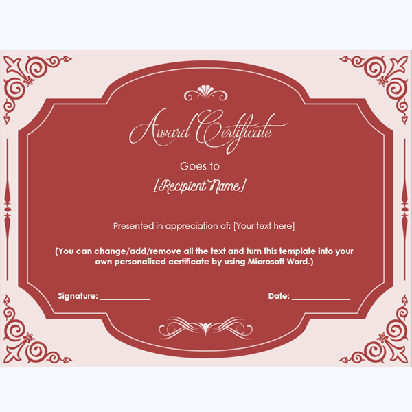 honor certificate template word