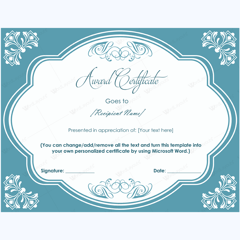 Award Certificate Mirror Frame Design Word Layouts