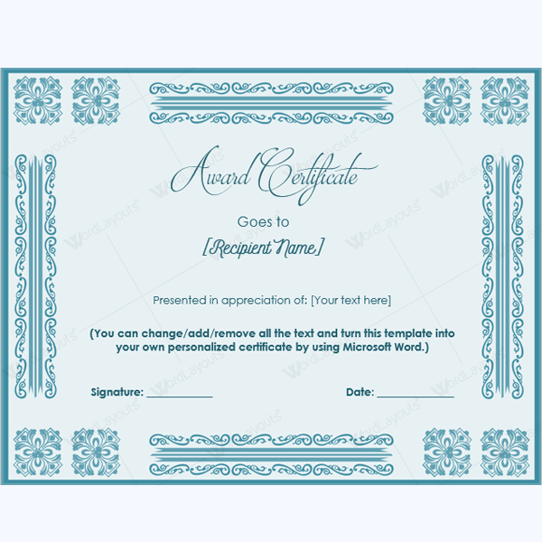teacher appreciation certificate template