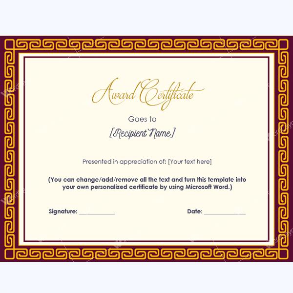 free award certificates