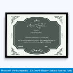 honor award certificate template
