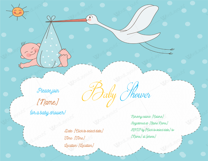 Baby Shower Invitation Template For Word  Baby Shower Templates Word