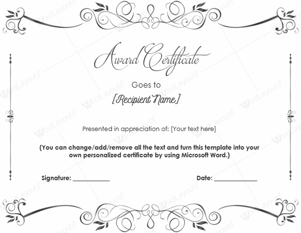 certificate templates for word – Microsoft Word Award Template