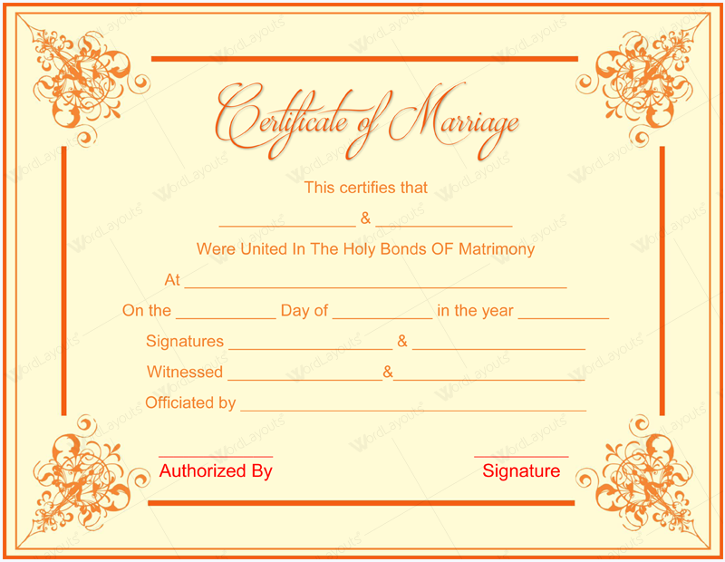It is a picture of Sweet Marriage Certificate Template Word