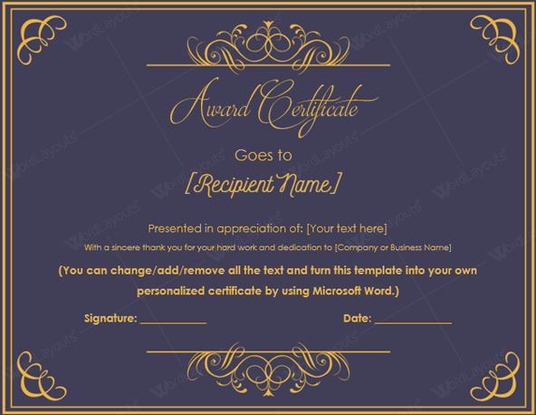 Excellence Award Certificate Template  Business Certificates Templates