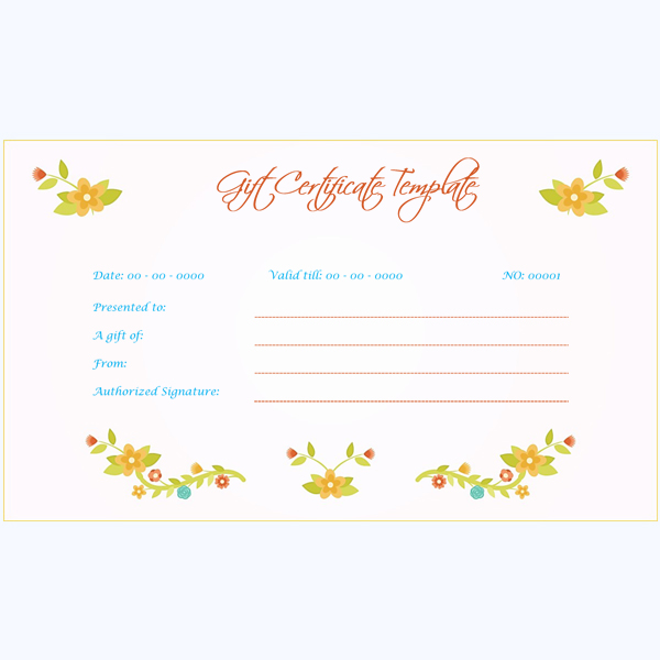 Gift Certificate with Flowers