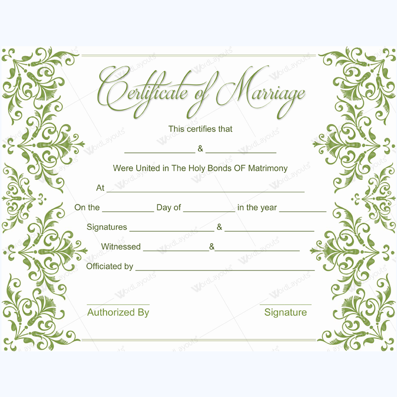 marriage certificate template word