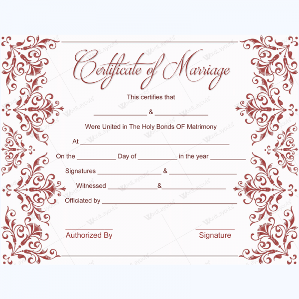 Marriage Certificate 02 Word Layouts Printable Fake Marriage