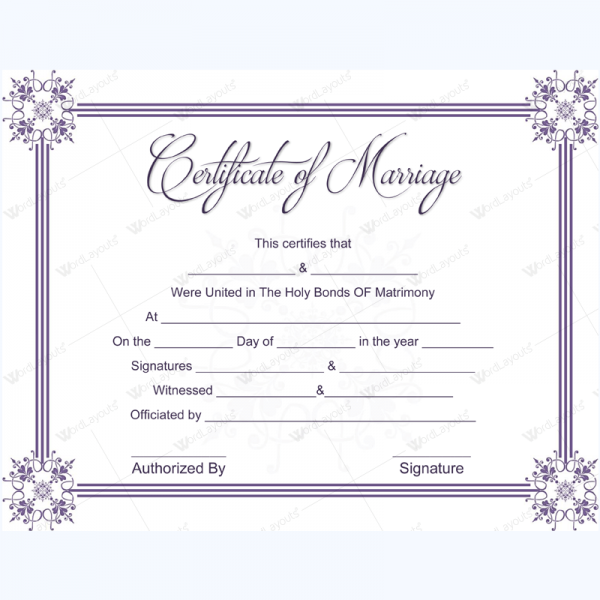 This is a picture of Terrible Official Marriage Certificate Template
