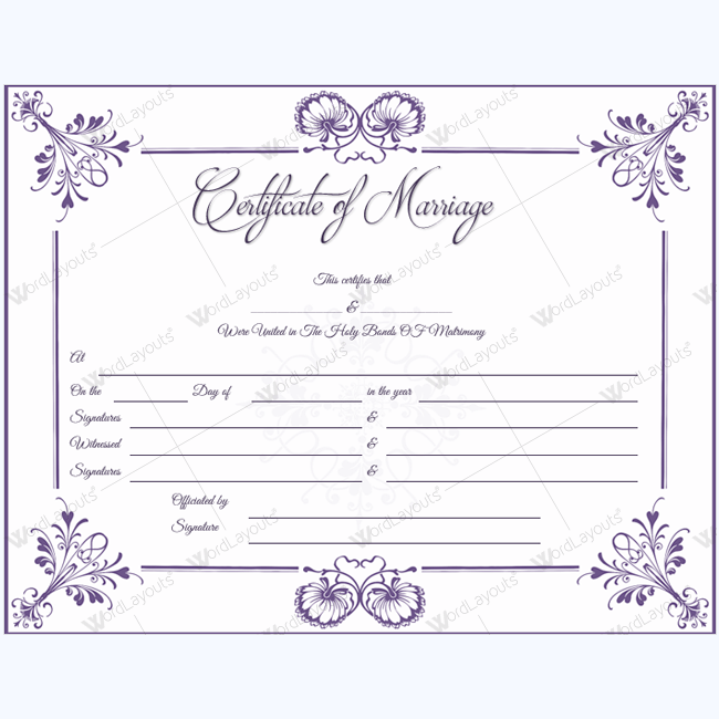 simple marriage certificate