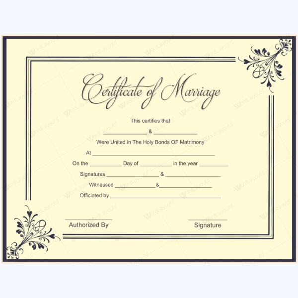Marriage Certificate 09 Word Layouts