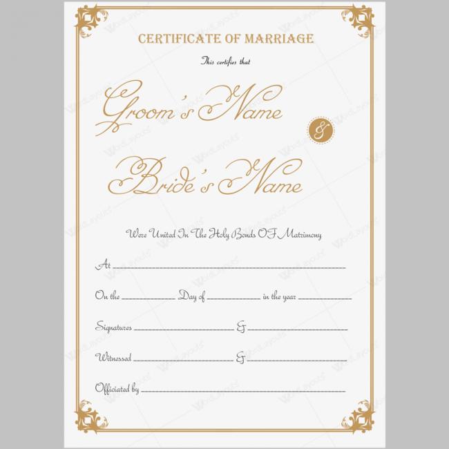 Beautiful printable marriage certificate template word