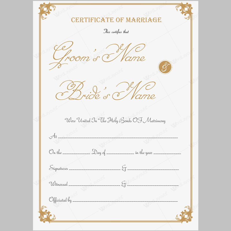 Beautiful printable marriage certificate template word