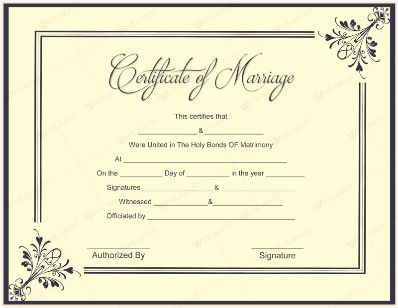 It's just a picture of Peaceful Marriage Certificate Template Word