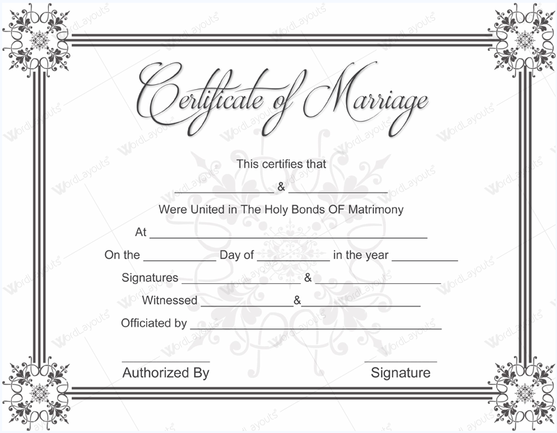 Printable Marriage Certificate Template  Certificate Template Word