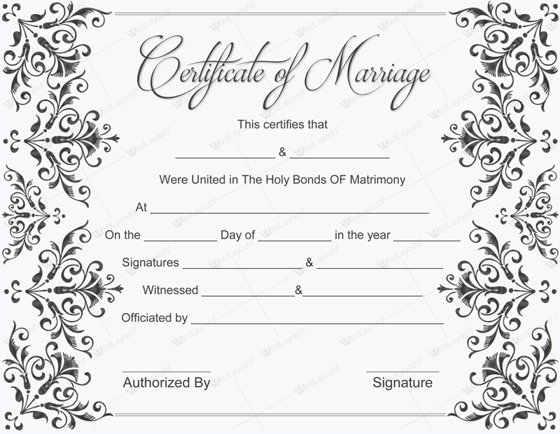 Sweet image for printable marriage certificates