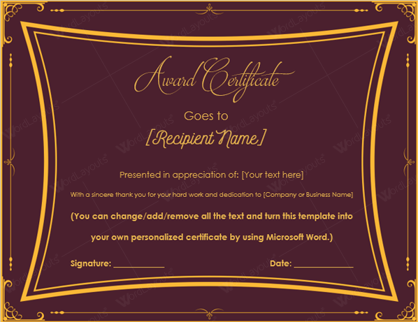 Royal Award Certificate Template  Excellence Award Certificate Template