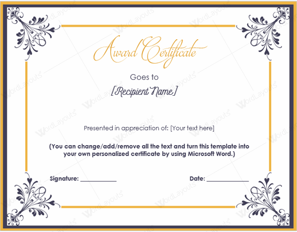10 best award certificate templates for 2016 award certificate template word yadclub Choice Image
