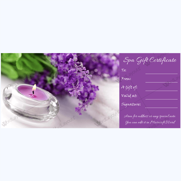 spa gift certificate template - gift certificate 20 word layouts