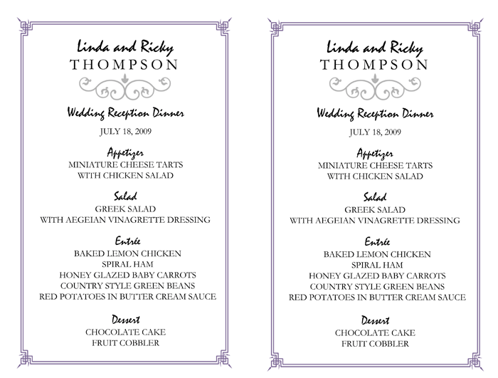 Wedding Menu Template 5 Printable Designs
