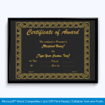 Black Award Certificate Template