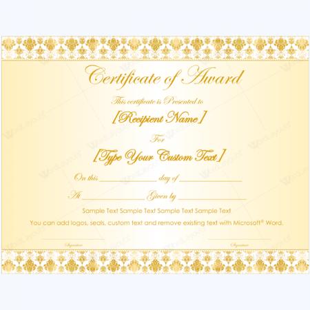 award certificate wording