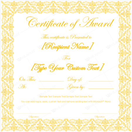 ms word award certificate template