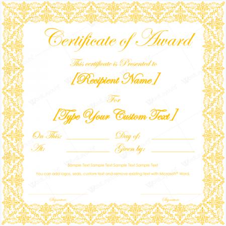 ms word award certificate template