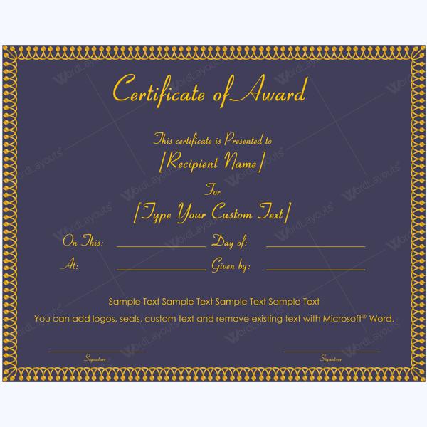 microsoft word certificate of appreciation template