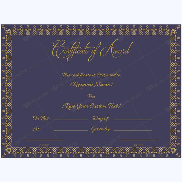 word certificate