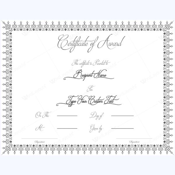free award certificate template microsoft word